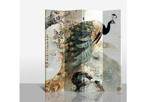 Fine Asianliving Biombo Separador de Lienzo 4 Paneles Pavo Real Dorado Anch.160 x Alt.180 cm