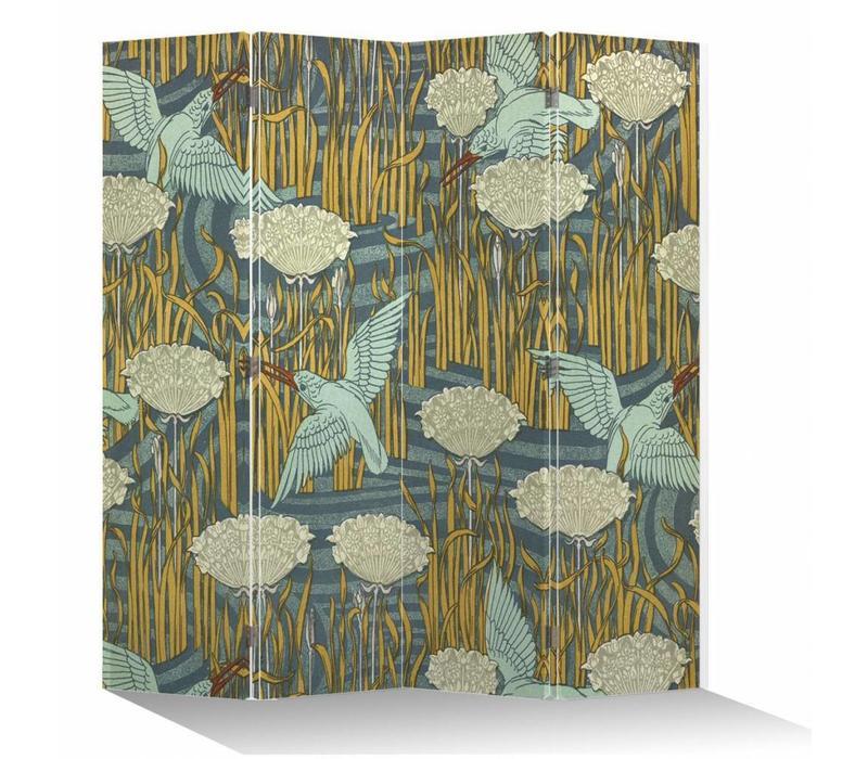 Fine Asianliving Japans Kamerscherm Oosters Scheidingswand 4 Panelen Vogels L160xH180cm