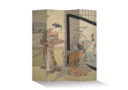 Fine Asianliving Paravent en Toile L160xH180cm 4 Panneaux Femmes Japonaises