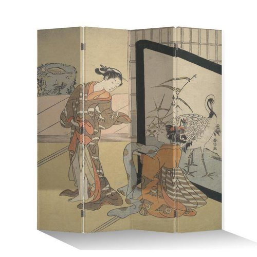 Fine Asianliving Japanese Oriental Room Divider Folding Privacy Screen 4 Panel Japanese Women L160xH180cm