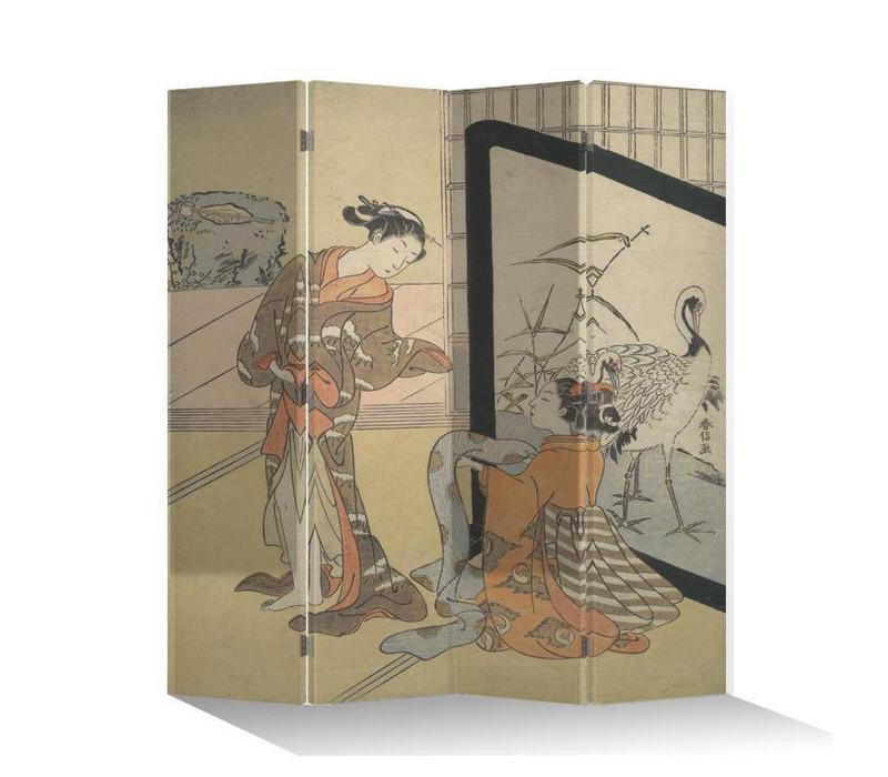 Fine Asianliving Japans Kamerscherm Oosters Scheidingswand 4 Panelen Japanse Vrouwen L160xH180cm