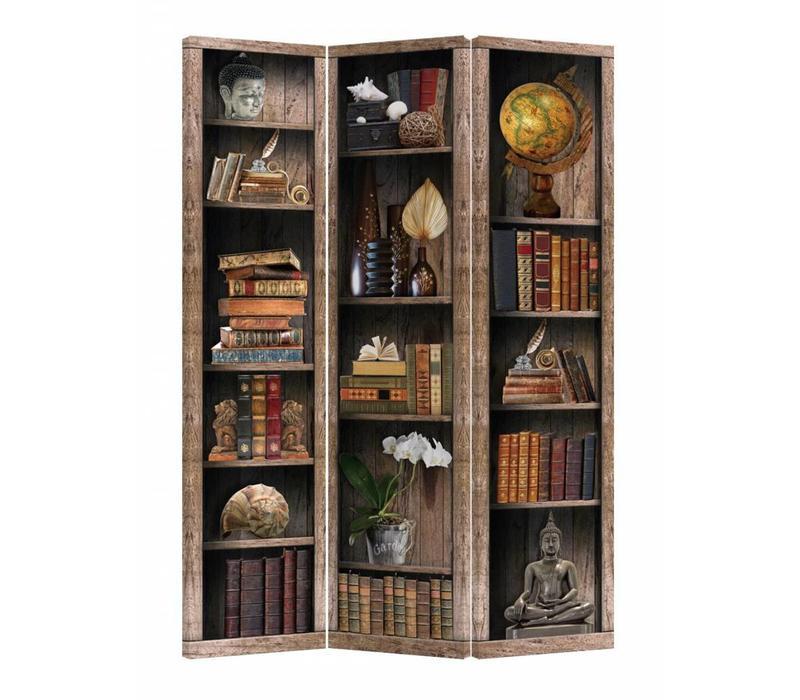 Room Divider Privacy Screen 3 Panels W120xH180cm Bookshelf