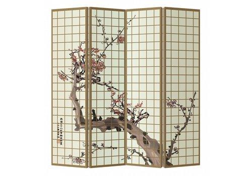 Fine Asianliving Biombo Separador de Lienzo A160xA180cm 4 Paneles Flores de Cerezo Japonesas