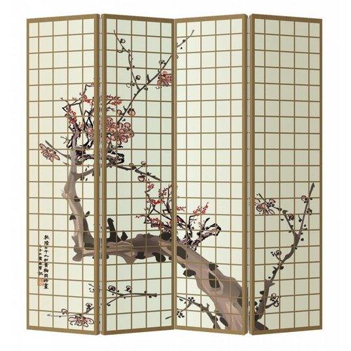 Fine Asianliving Room Divider Privacy Screen 4 Panel Japanese Sakura L160xH180cm