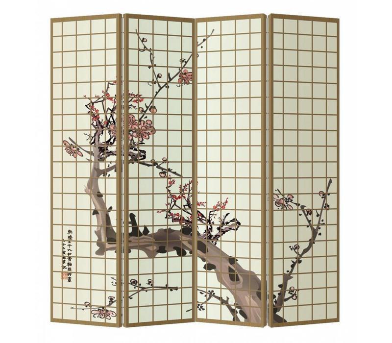 Paravent en Toile L160xH180cm 4 Panneaux Fleurs de Cerisier