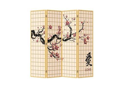 Fine Asianliving Biombo Separador de Lienzo Japonés A160xA180cm 4 Paneles Flores de Cerezo Amor