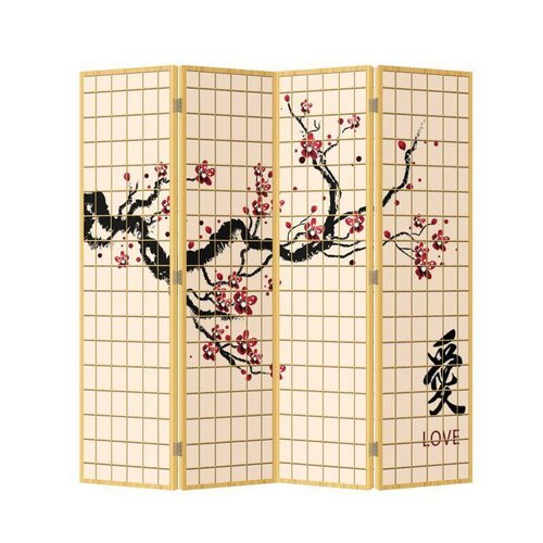 Fine Asianliving Japanese Oriental Room Divider Folding Privacy Screen 4 Panel Sakura Love L160xH180cm