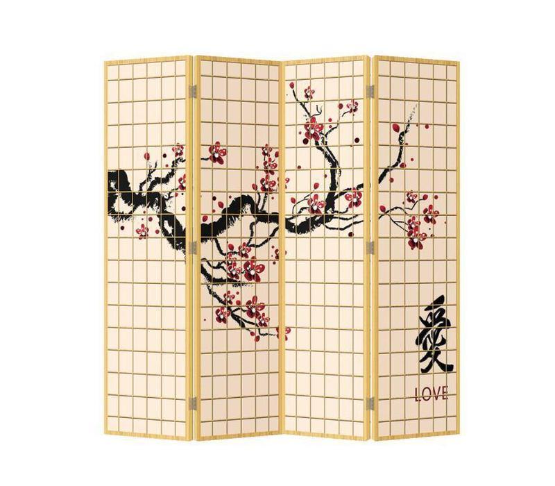 Fine Asianliving Japans Kamerscherm Oosters Scheidingswand 4 Panelen Sakura Love L160xH180cm
