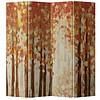 Fine Asianliving Kamerscherm 4 Panelen Rood Abstract Bos