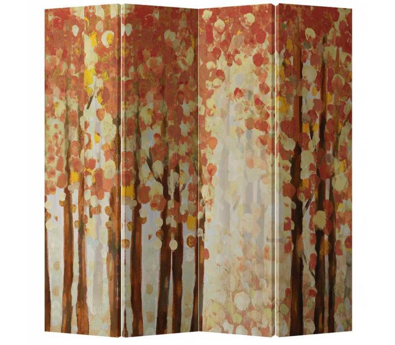 Kamerscherm 4 Panelen Rood Abstract Bos