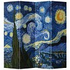 Fine Asianliving Fine Asianliving Room Divider Privacy Screen 4 Panel Van Gogh's Starry Night L160xH180cm