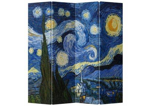 Fine Asianliving Paravento Divisori in Tela L160xA180cm 4 Pannelli Van Gogh Notte Stellata