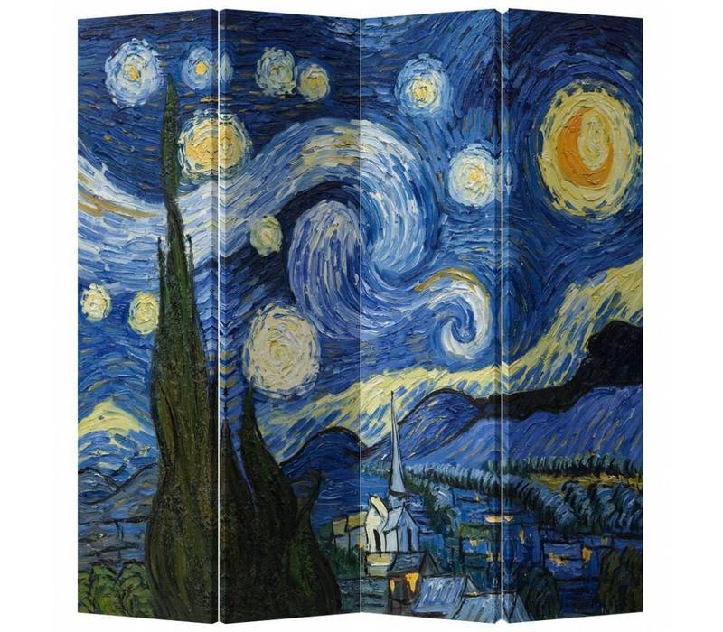 Biombo Separador de Lienzo A160xA180cm 4 Paneles Van Gogh La Noche Estrellada