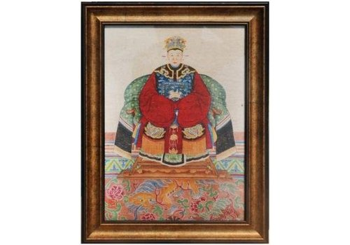 Fine Asianliving Chinese Voorouderportret Schilderij B36xH48cm Glicee Handgemaakt