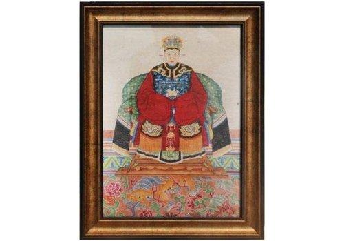 Fine Asianliving Tableau Chinois  Portrait d'Ancêtre Giclée Embelli à la Main L36xH48cm