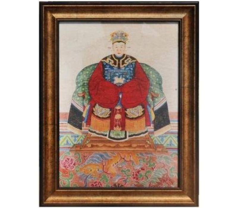 Chinese Voorouderportret Schilderij B36xH48cm Glicee Handgemaakt