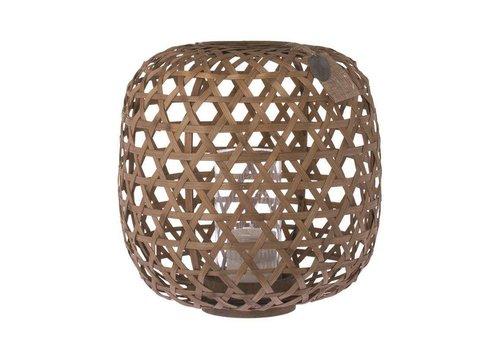 Fine Asianliving Riverdale Windlicht Bamboe Handgevlochten Bruin 33 cm