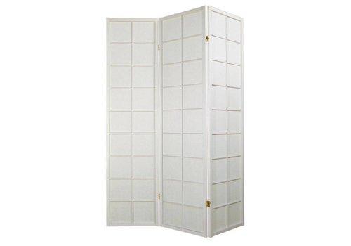 Fine Asianliving Biombo Separador Japonés A135xA180cm 3 Paneles Shoji Papel de Arroz Blanco