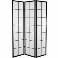 Japans Kamerscherm Shoji Traditioneel Rijstpapier 3 Panelen - Zwart 180/B3