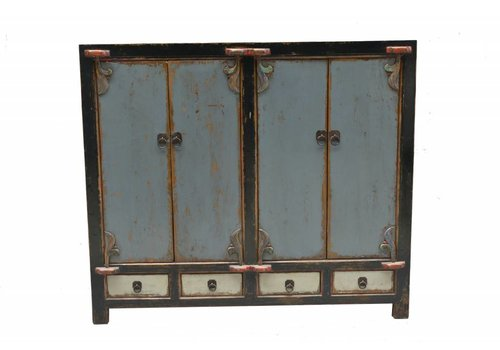 Fine Asianliving Antique Chinese Sideboard Rustic Blue with Black Edges  - Shanxi China
