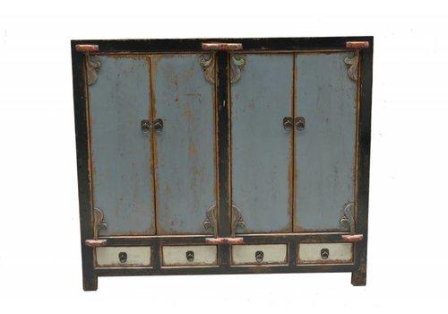 Fine Asianliving Antique Chinese Sidetable Light Blue White Black Edge  - Shanxi China