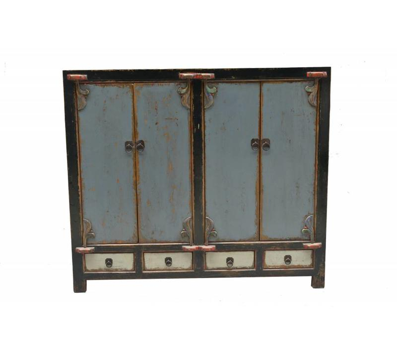 Antique Chinese Sideboard Rustic Blue with Black Edges  - Shanxi China