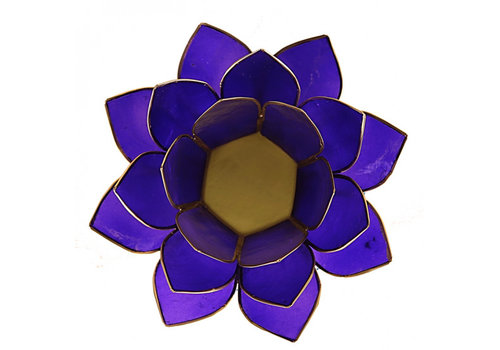 Fine Asianliving Candle holder open lotusflower purple