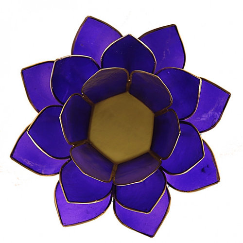Candle holder open lotusflower purple
