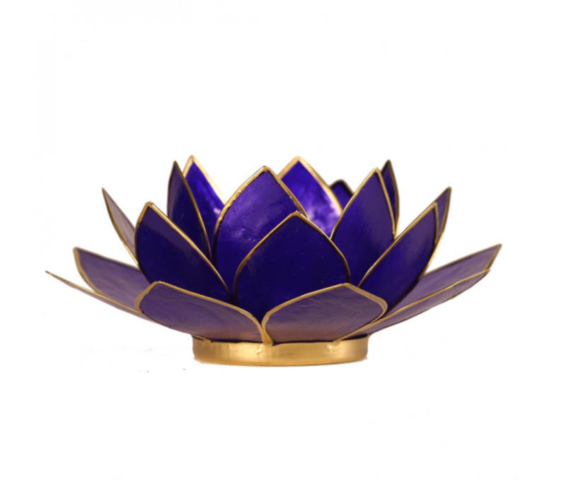 Candle holder open lotusflower purple