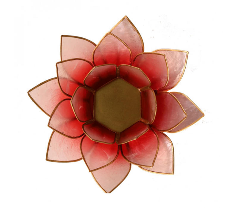 Candle holder open lotusflower pink