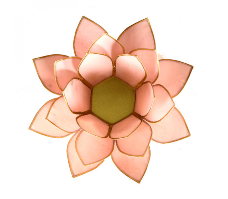 Sfeerlicht open lotusbloem Capiz Schelp pastel roze