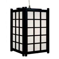 Japanische Pendelleuchte Holz und Reispapier Schwarz - Dofu B20.5xT20.5xH31cm