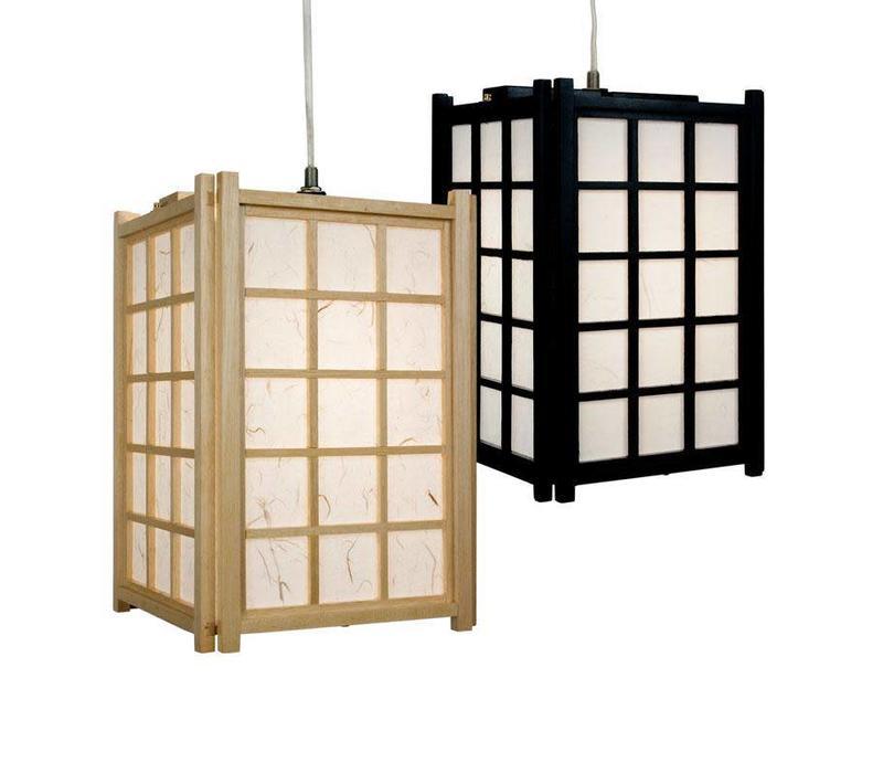 Lampada a Sospensione Giapponese di Legno e Carta Shoji Nero - Dofu L20.5xP20.5xA31cm