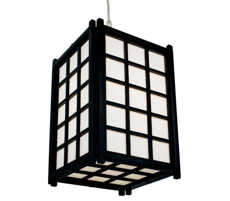 Japanse Hanglamp Rijstpapier Shoji Hout Zwart - Dofu B20.5xD20.5xH31cm