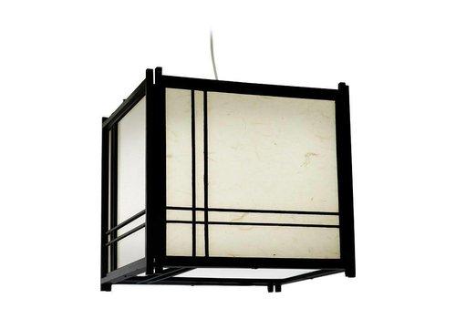 Fine Asianliving Japanse Hanglamp Rijstpapier Shoji Hout Double Cross Zwart