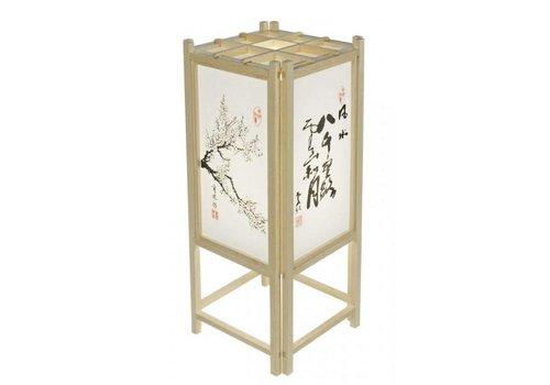 Fine Asianliving Japanse Tafellamp Rijstpapier Shoji Hout Calligraphy Natural