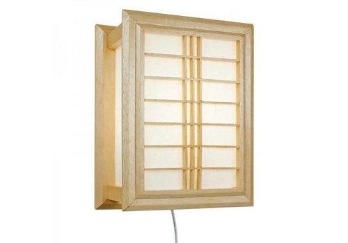 Fine Asianliving Japanese Wall Lamp Ricepaper Shoji Wood Shiga Natural