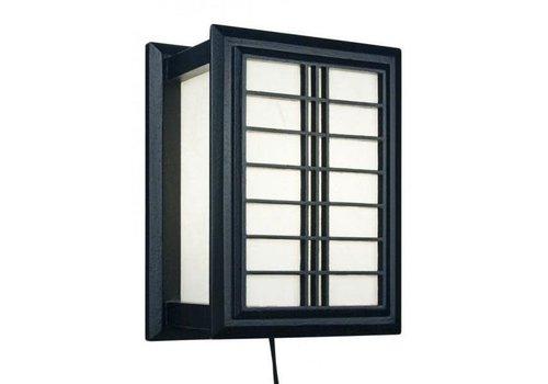 Fine Asianliving Japanese Wall Lamp Ricepaper Shoji Wood Shiga Black