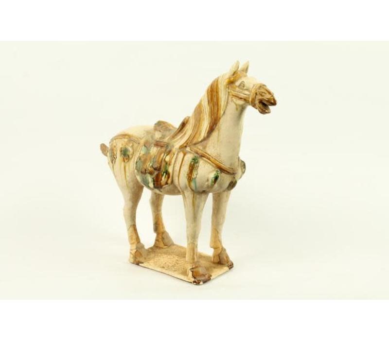 Aardewerk Chinees Paard Wit Rechts