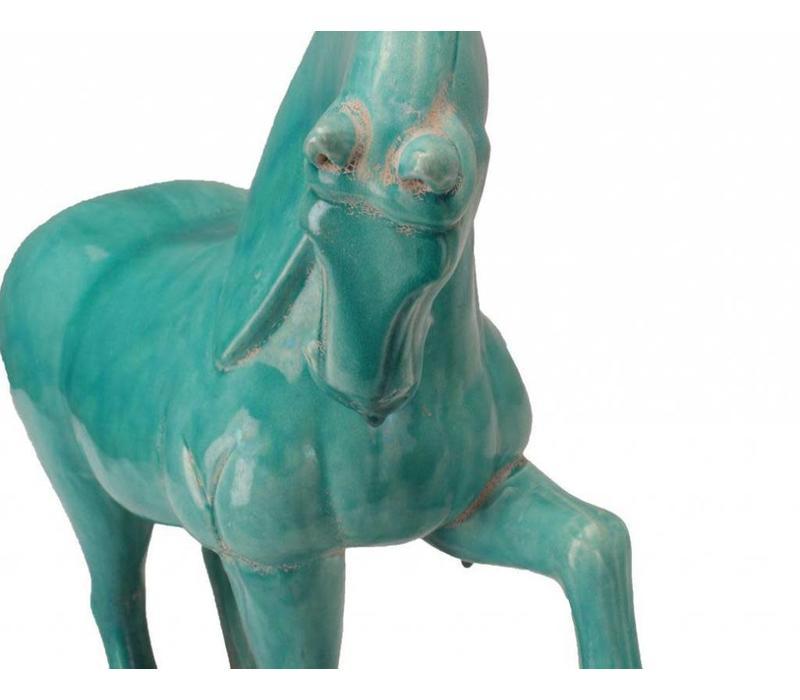 Chinees Paard Blauw Terracotta Keramiek Handgemaakt