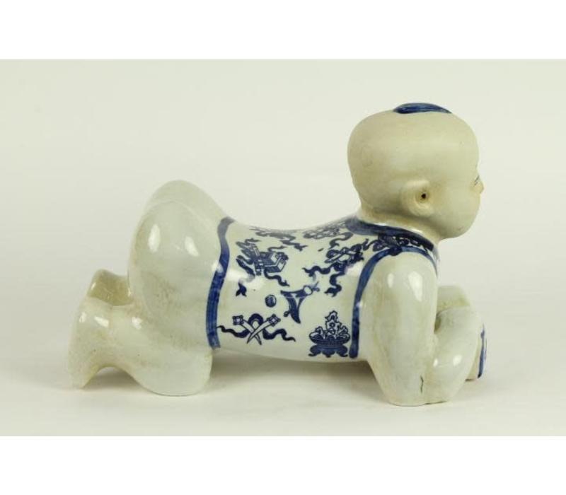 Porseleinen Kussen Boy Blauw Wit