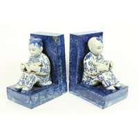 Chinese porcelain bookend children blue-white