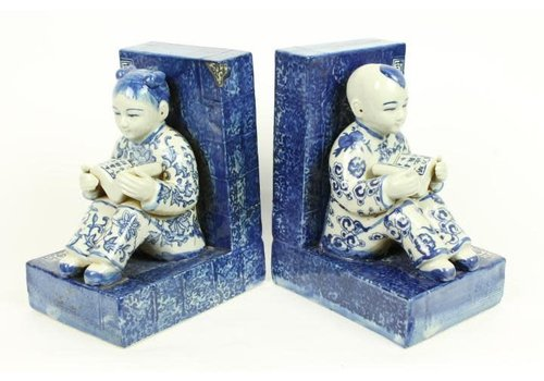 Fine Asianliving Chinese Bookend Porcelain Children Blue-White Set/2
