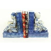 Chinese Bookend Porcelain Children Blue-White Set/2