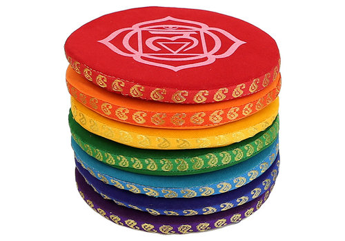 Fine Asianliving Singing bowl cushion chakra multi-color set - 14.5 cm