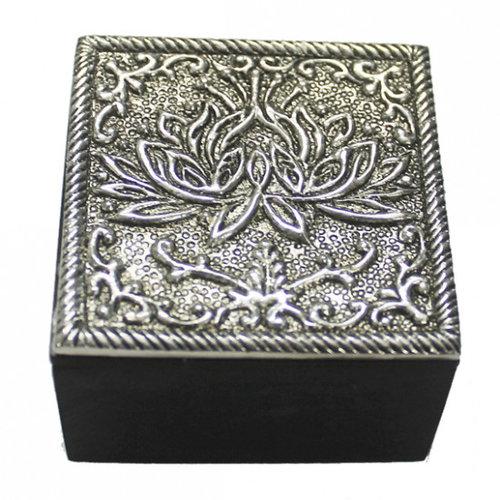 Jewelry box lotus silver