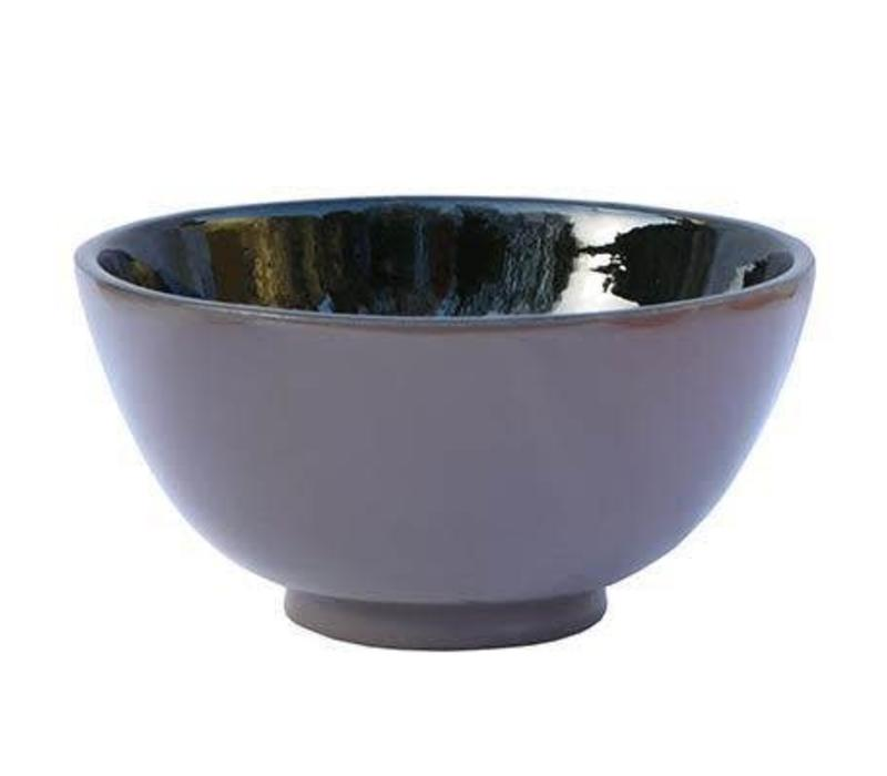 Vietnamese taupe and black lacquer bowl large