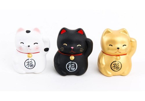 Fine Asianliving Lucky Cat Maneki Neko Mini Black