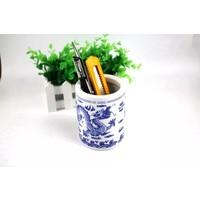 Chinese Kalligrafie Penselen Houder Blauw-wit Porselein