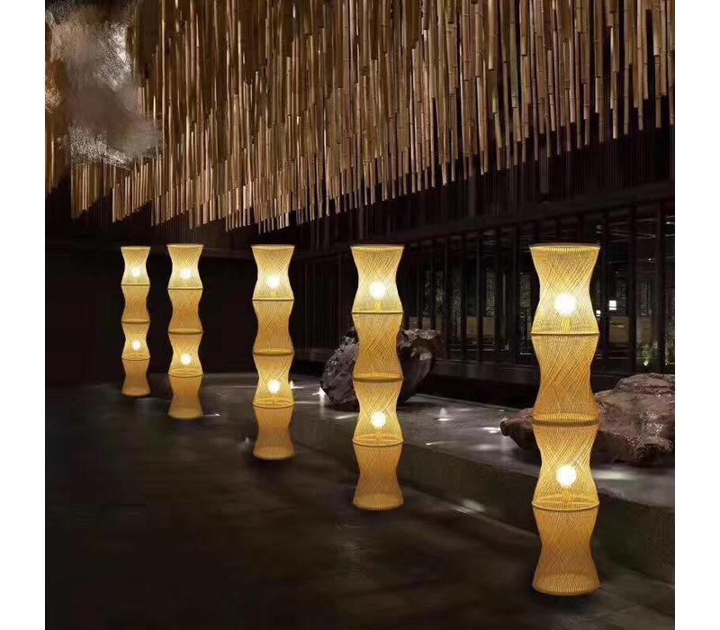 Fine Asianliving Bamboo braided floor lamp 4 layers Small